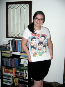 Rachel in the NKOTB tshirt now