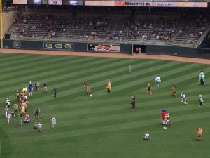 All the mascots at the Twins Game