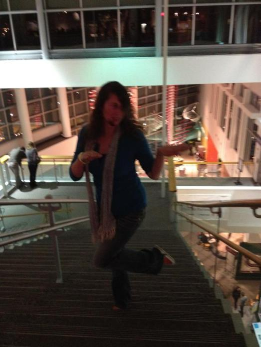 Lacy doing the Thriller at the Science Museum